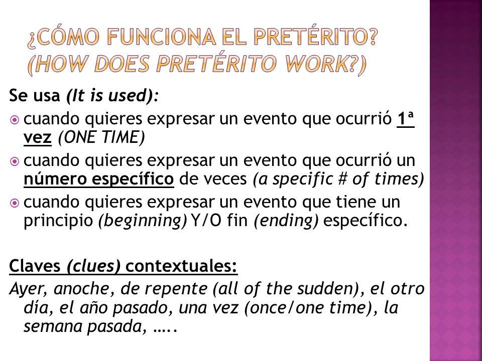 Se usa (It is used): cuando quieres expresar un evento que ocurrió 1ª vez (ONE TIME) cuando quieres expresar un evento que ocurrió un número específic