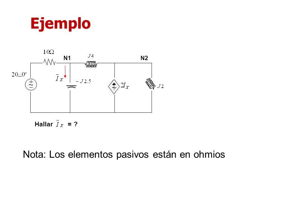 Hallar = ? N1N2 Nota: Los elementos pasivos están en ohmios Ejemplo