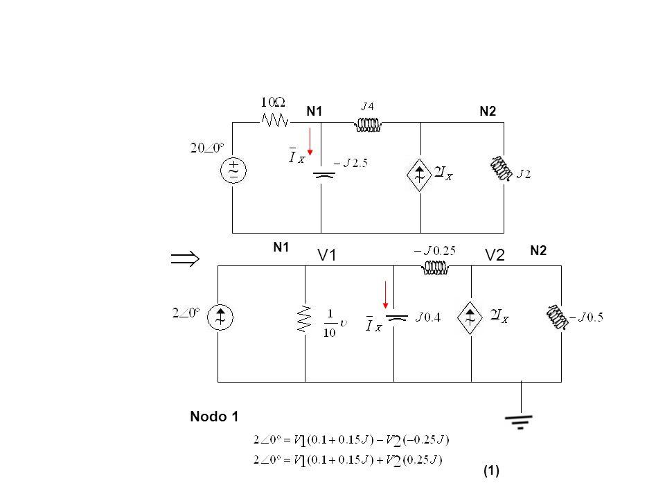 Nodo 1 (1) N1 N2 N1N2 V1V2