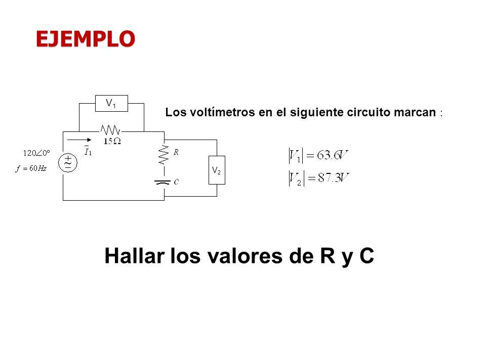 V2V2 V1V1 Hallar los valores de R y C Los voltímetros en el siguiente circuito marcan : EJEMPLO