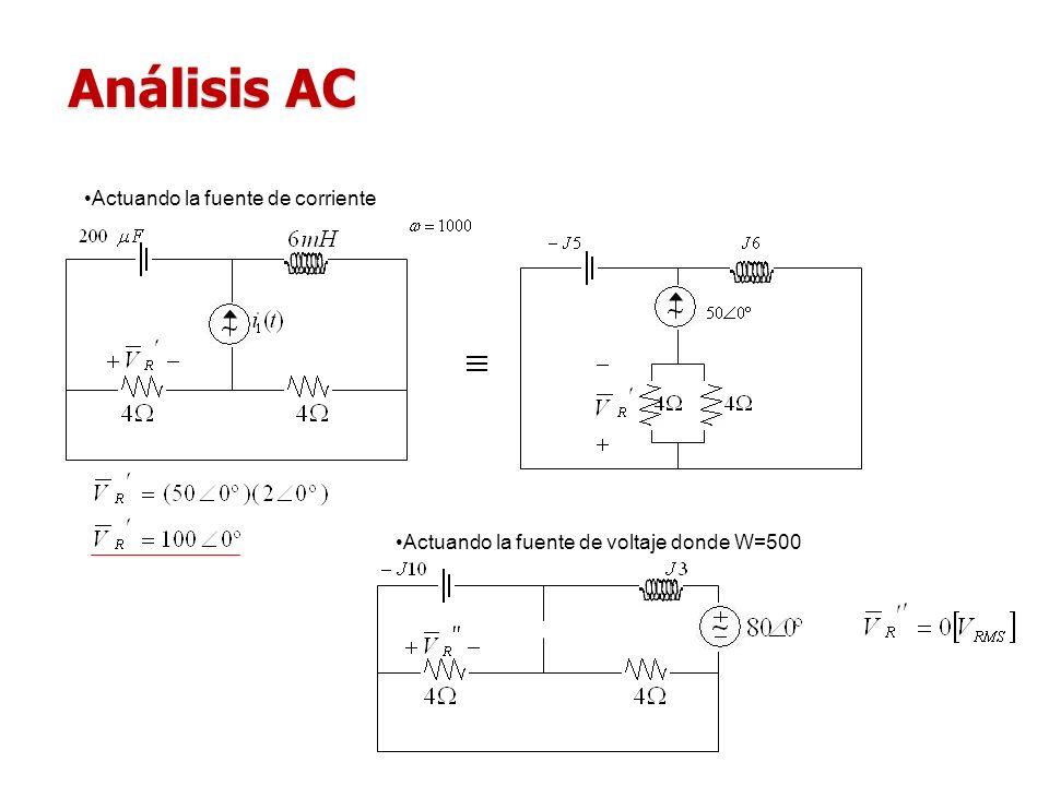 Análisis AC Actuando la fuente de corriente Actuando la fuente de voltaje donde W=500