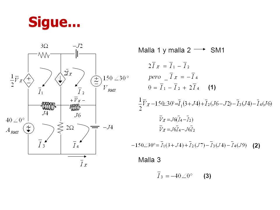 Sigue... Malla 1 y malla 2SM1 (1) (2) Malla 3 (3)