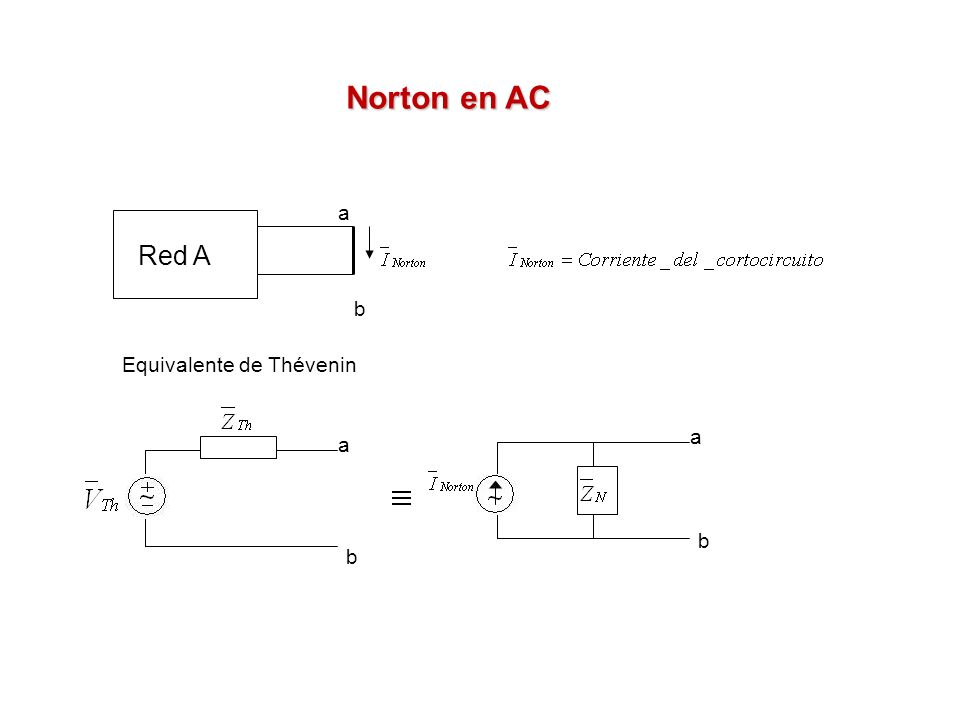 Red A a b Equivalente de Thévenin a a b b Norton en AC
