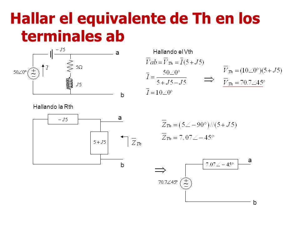 Hallar el equivalente de Th en los terminales ab a b a b Hallando el Vth Hallando la Rth a b
