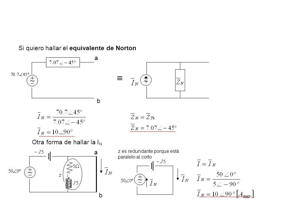 Si quiero hallar el equivalente de Norton a b Otra forma de hallar la I N a b z es redundante porque está paralelo al corto