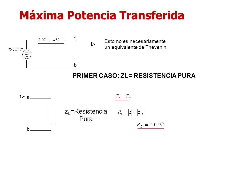 Máxima Potencia Transferida a b Esto no es necesariamente un equivalente de Thévenin z L =Resistencia Pura 1.- a b PRIMER CASO: ZL= RESISTENCIA PURA