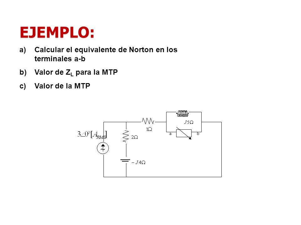 EJEMPLO: a)Calcular el equivalente de Norton en los terminales a-b b)Valor de Z L para la MTP c)Valor de la MTP ab
