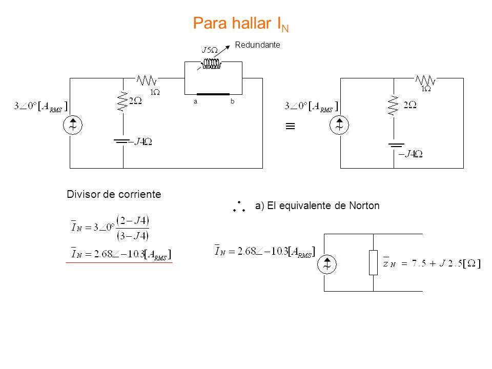 Para hallar I N Redundante ab Divisor de corriente a) El equivalente de Norton