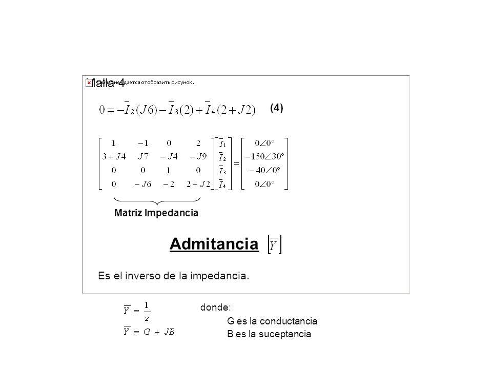 Malla 4 (4) Matriz Impedancia Admitancia Es el inverso de la impedancia. donde: G es la conductancia B es la suceptancia