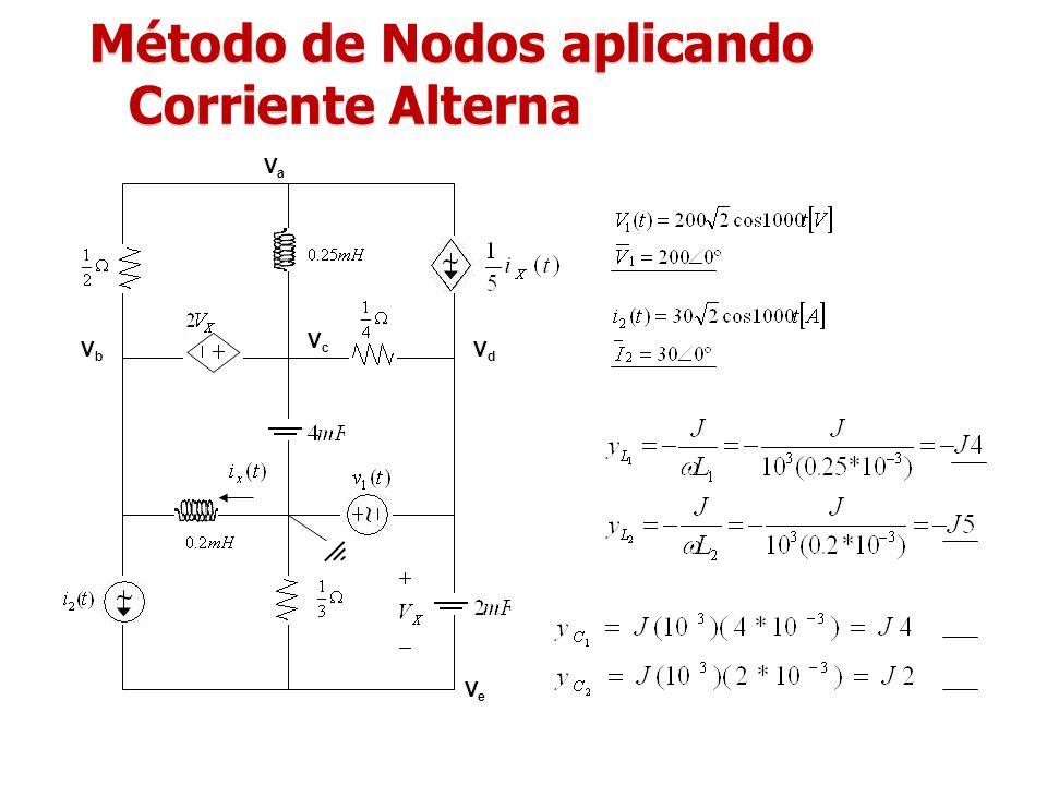 Método de Nodos aplicando Corriente Alterna VaVa VbVb VcVc VdVd VeVe