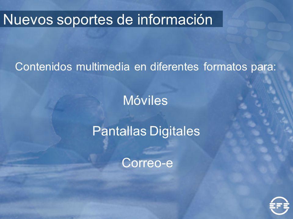 Móviles Pantallas Digitales Correo-e Contenidos multimedia en diferentes formatos para: Nuevos soportes de información