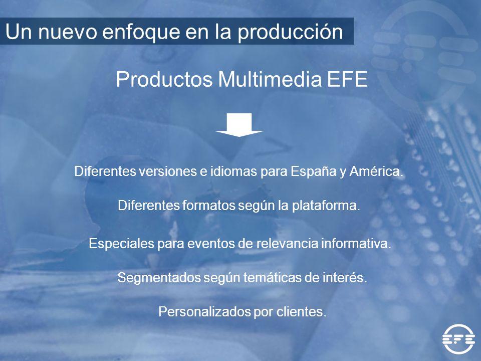 Productos Multimedia EFE Diferentes versiones e idiomas para España y América. Segmentados según temáticas de interés. Diferentes formatos según la pl