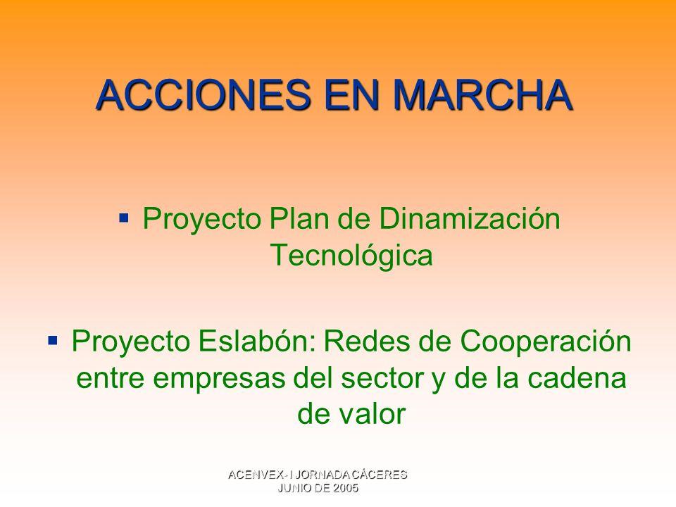 ACENVEX- I JORNADA CÁCERES JUNIO DE 2005 ACCIONES EN MARCHA Proyecto Plan de Dinamización Tecnológica Proyecto Eslabón: Redes de Cooperación entre empresas del sector y de la cadena de valor
