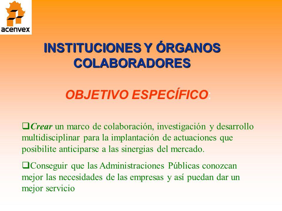 INSTITUCIONES Y ÓRGANOS COLABORADORES OBJETIVO ESPECÍFICO: Crear un marco de colaboración, investigación y desarrollo multidisciplinar para la implantación de actuaciones que posibilite anticiparse a las sinergias del mercado.