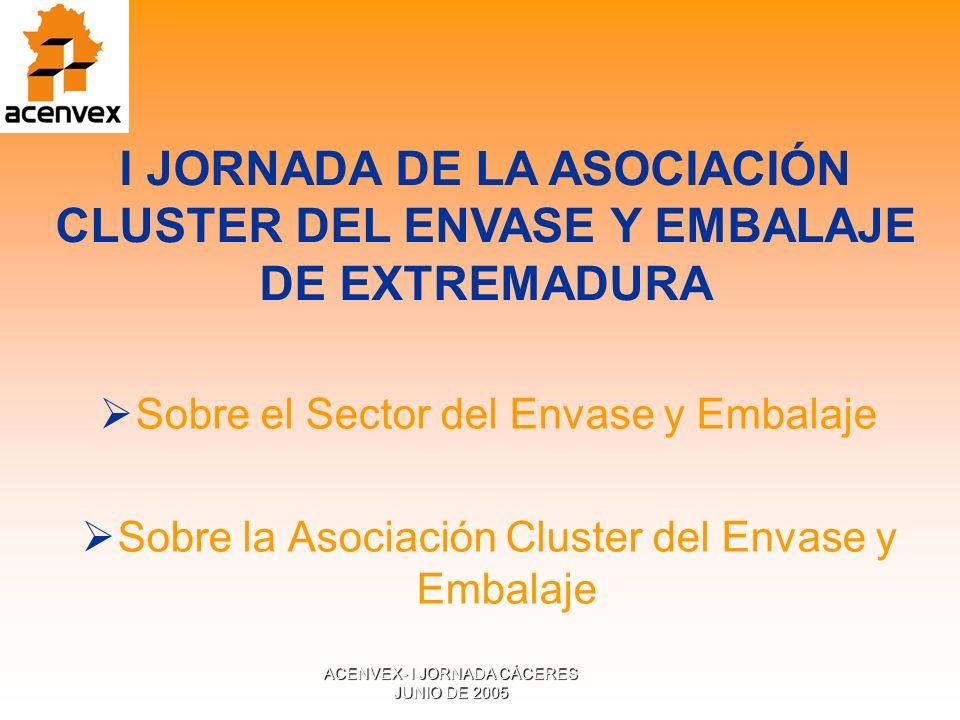 ACENVEX- I JORNADA CÁCERES JUNIO DE 2005 Sobre el Sector del Envase y Embalaje Sobre la Asociación Cluster del Envase y Embalaje I JORNADA DE LA ASOCIACIÓN CLUSTER DEL ENVASE Y EMBALAJE DE EXTREMADURA