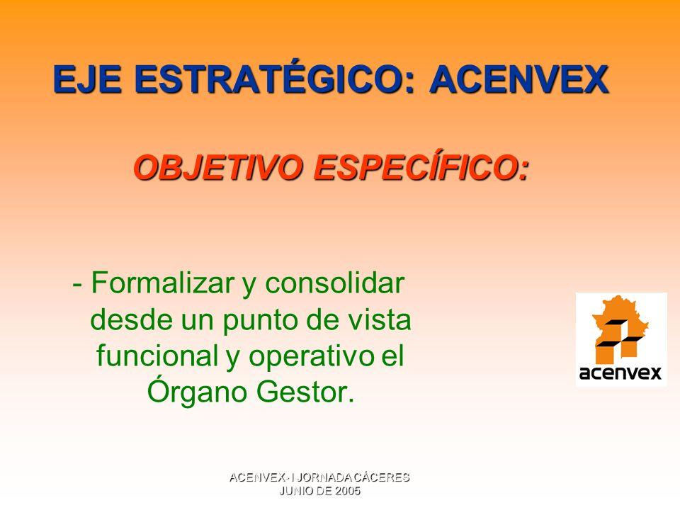 ACENVEX- I JORNADA CÁCERES JUNIO DE 2005 EJE ESTRATÉGICO: ACENVEX OBJETIVO ESPECÍFICO: - Formalizar y consolidar desde un punto de vista funcional y operativo el Órgano Gestor.