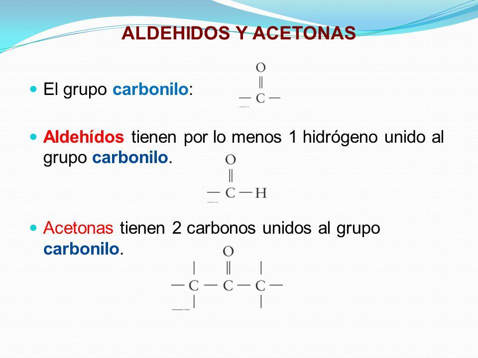 ALDEHIDOS Y ACETONAS El grupo carbonilo: Aldehídos tienen por lo menos 1 hidrógeno unido al grupo carbonilo. Acetonas tienen 2 carbonos unidos al grup
