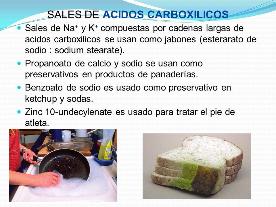 SALES DE ACIDOS CARBOXILICOS Sales de Na + y K + compuestas por cadenas largas de acidos carboxilicos se usan como jabones (esterarato de sodio : sodi