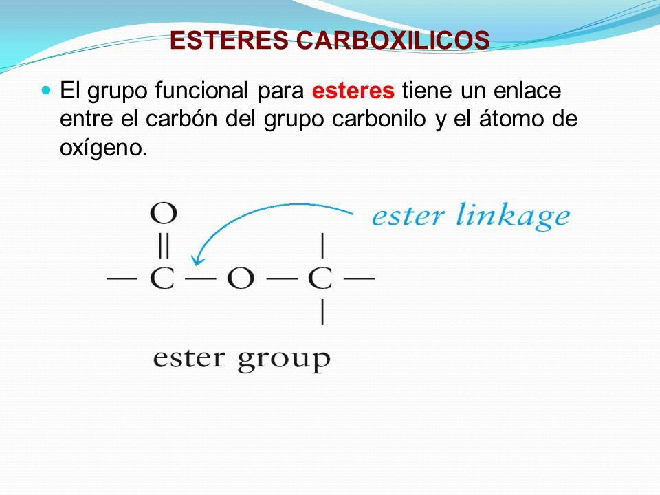 ESTERES CARBOXILICOS El grupo funcional para esteres tiene un enlace entre el carbón del grupo carbonilo y el átomo de oxígeno.
