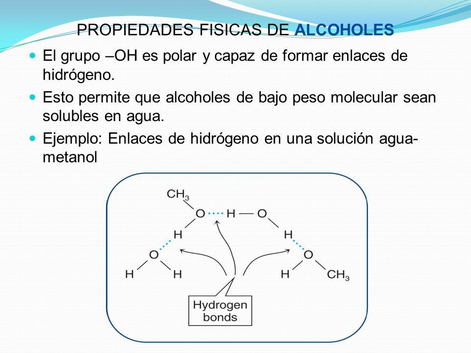 PROPIEDADES FISICAS DE ALCOHOLES El grupo –OH es polar y capaz de formar enlaces de hidrógeno. Esto permite que alcoholes de bajo peso molecular sean