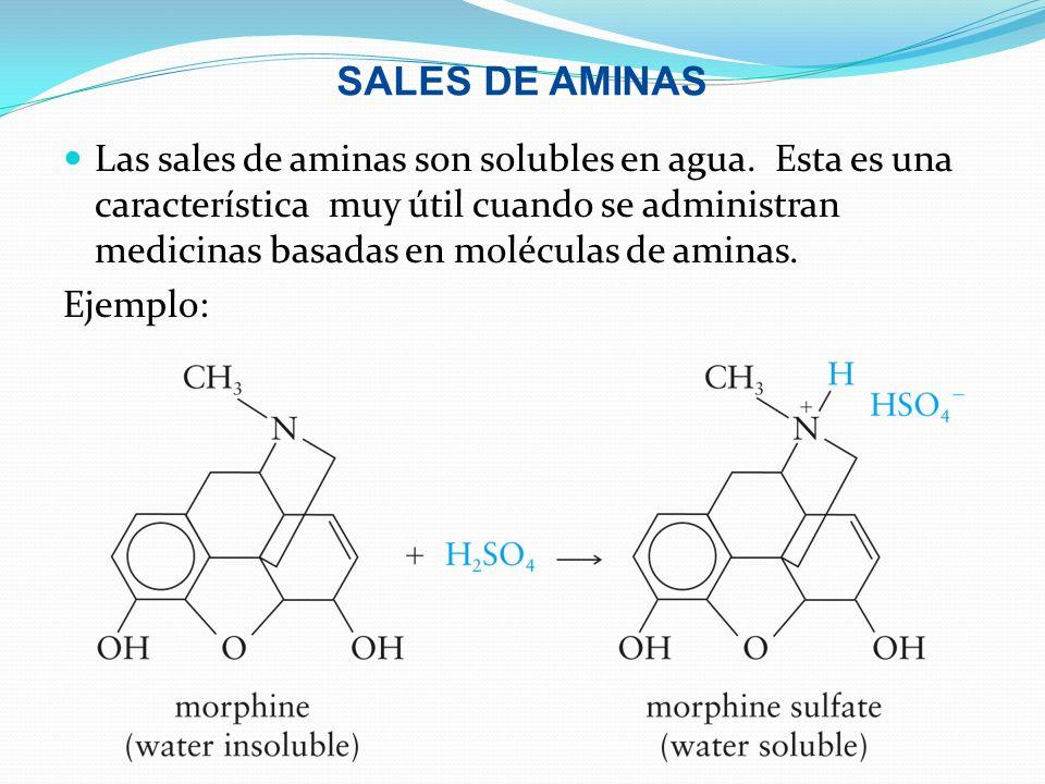 SALES DE AMINAS Las sales de aminas son solubles en agua. Esta es una característica muy útil cuando se administran medicinas basadas en moléculas de