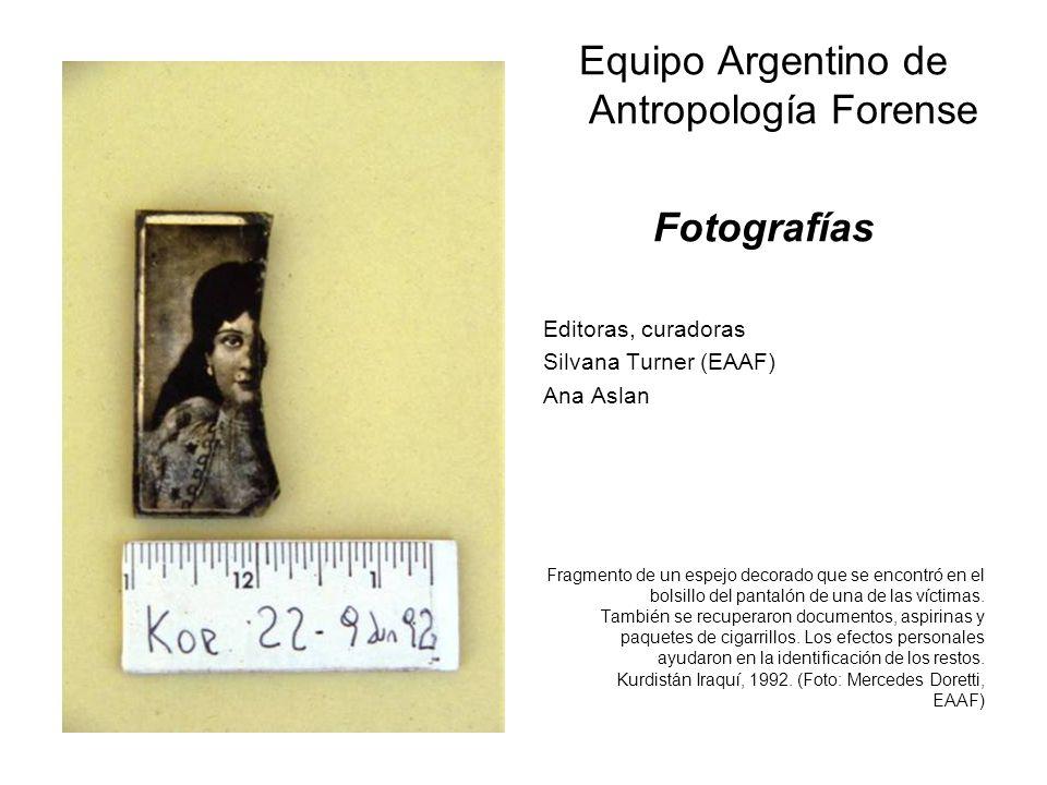 Equipo Argentino de Antropología Forense Fotografías Editoras, curadoras Silvana Turner (EAAF) Ana Aslan Fragmento de un espejo decorado que se encont