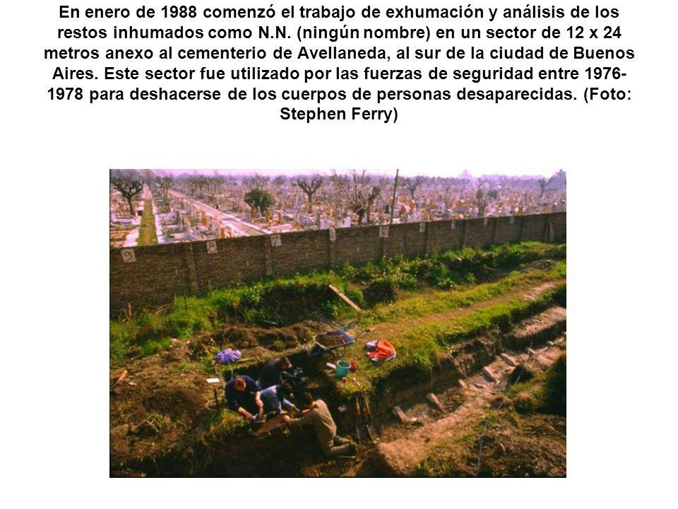 En enero de 1988 comenzó el trabajo de exhumación y análisis de los restos inhumados como N.N. (ningún nombre) en un sector de 12 x 24 metros anexo al