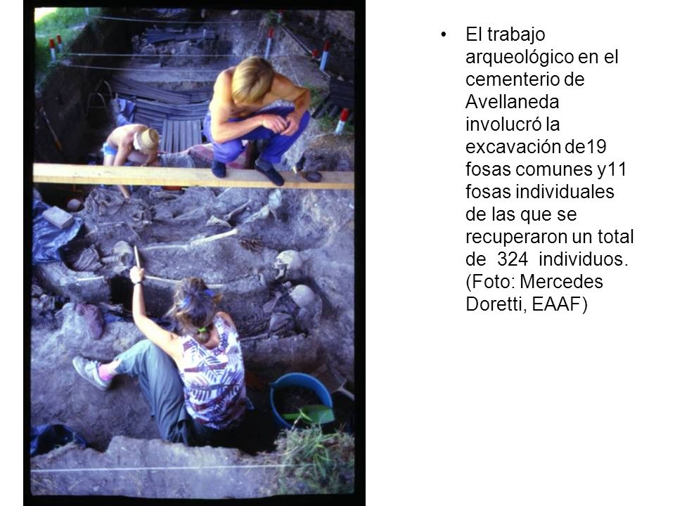 El trabajo arqueológico en el cementerio de Avellaneda involucró la excavación de19 fosas comunes y11 fosas individuales de las que se recuperaron un