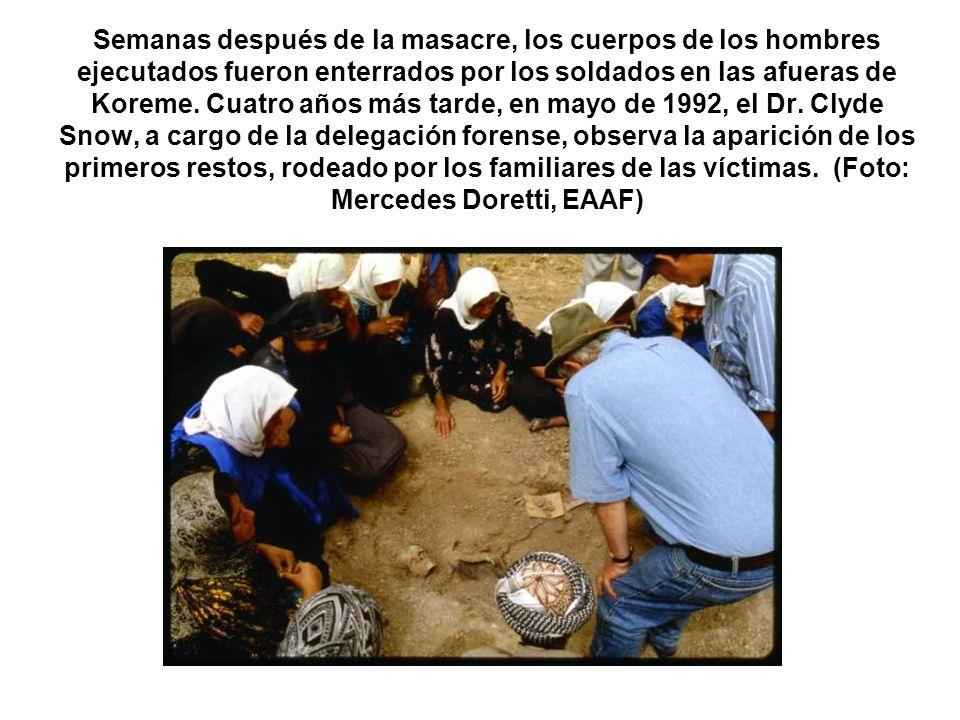 Semanas después de la masacre, los cuerpos de los hombres ejecutados fueron enterrados por los soldados en las afueras de Koreme. Cuatro años más tard