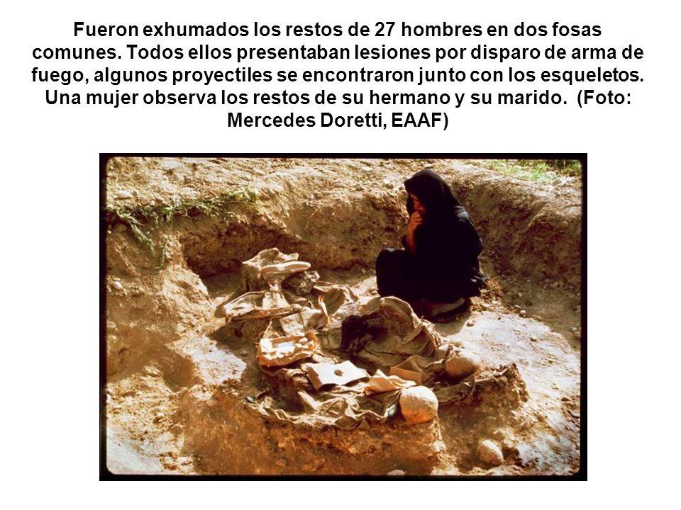 Fueron exhumados los restos de 27 hombres en dos fosas comunes. Todos ellos presentaban lesiones por disparo de arma de fuego, algunos proyectiles se