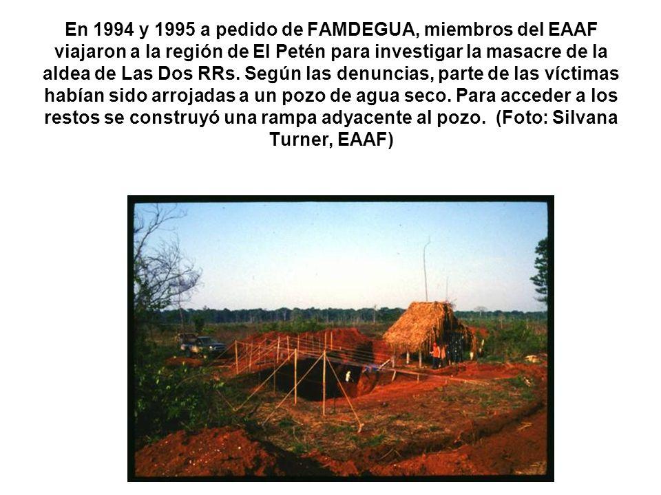 En 1994 y 1995 a pedido de FAMDEGUA, miembros del EAAF viajaron a la región de El Petén para investigar la masacre de la aldea de Las Dos RRs. Según l