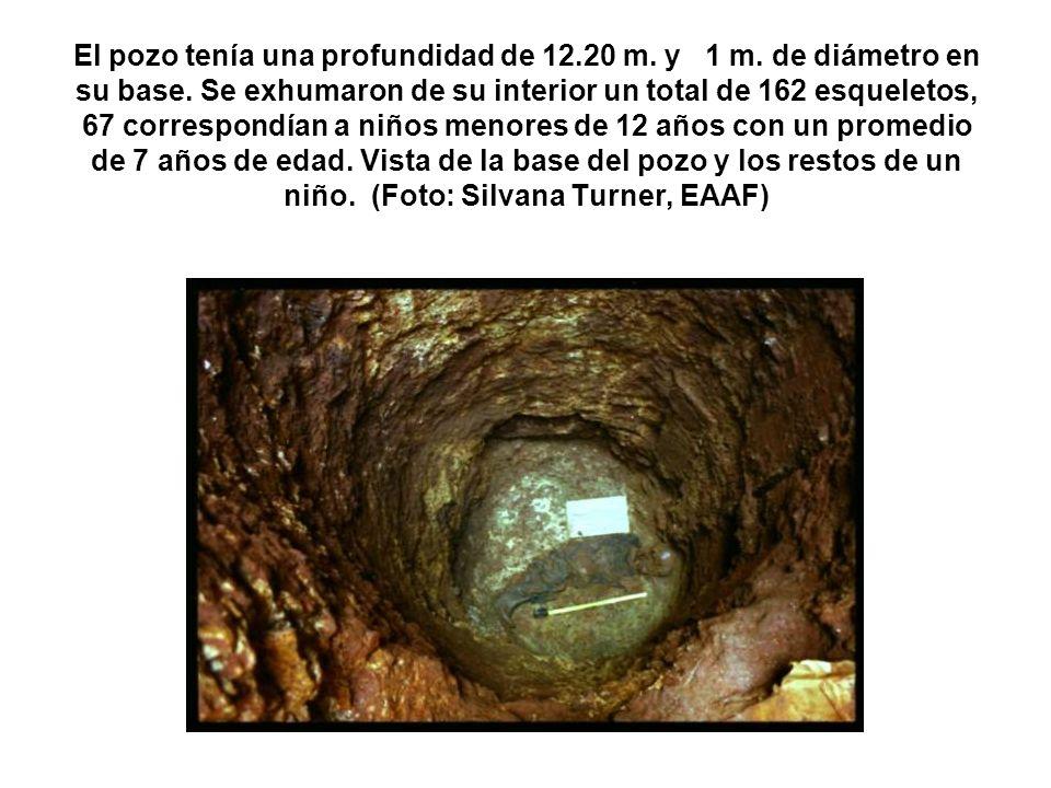 El pozo tenía una profundidad de 12.20 m. y 1 m. de diámetro en su base. Se exhumaron de su interior un total de 162 esqueletos, 67 correspondían a ni