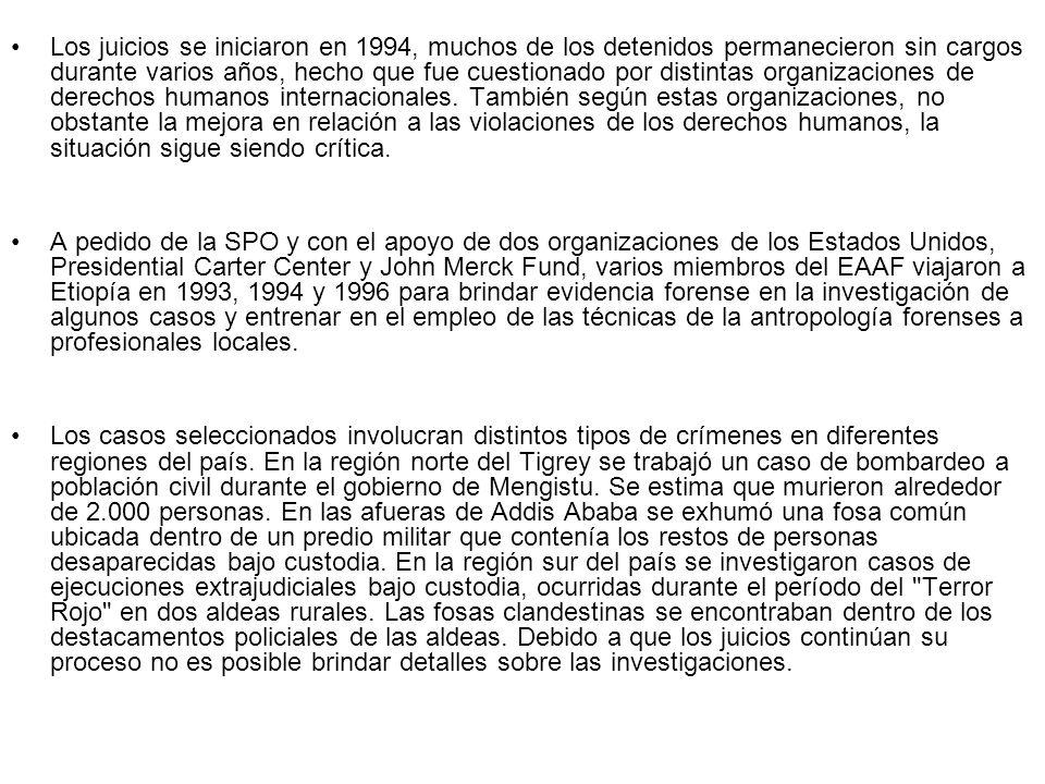 Los juicios se iniciaron en 1994, muchos de los detenidos permanecieron sin cargos durante varios años, hecho que fue cuestionado por distintas organi