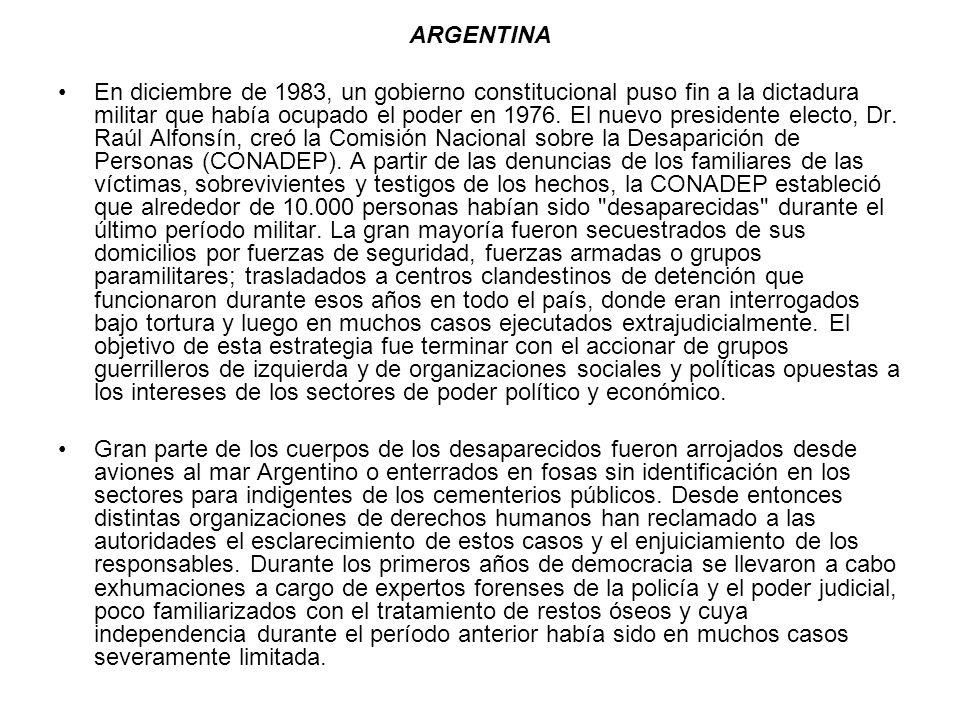 ARGENTINA En diciembre de 1983, un gobierno constitucional puso fin a la dictadura militar que había ocupado el poder en 1976. El nuevo presidente ele