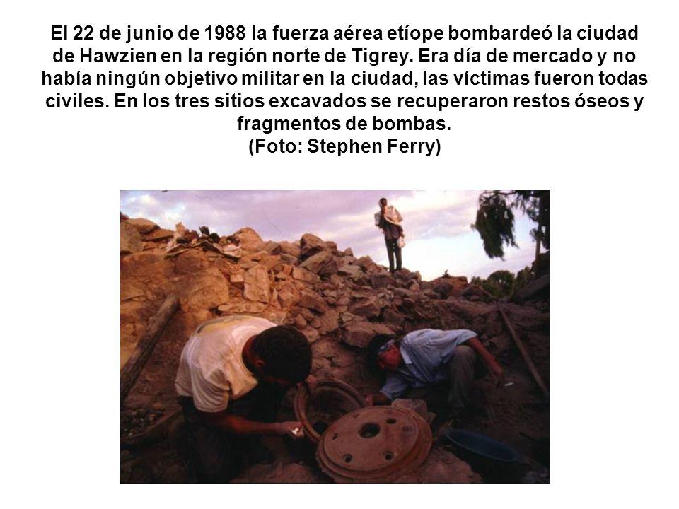 El 22 de junio de 1988 la fuerza aérea etíope bombardeó la ciudad de Hawzien en la región norte de Tigrey. Era día de mercado y no había ningún objeti