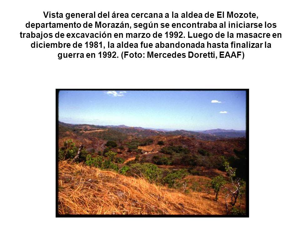 Vista general del área cercana a la aldea de El Mozote, departamento de Morazán, según se encontraba al iniciarse los trabajos de excavación en marzo