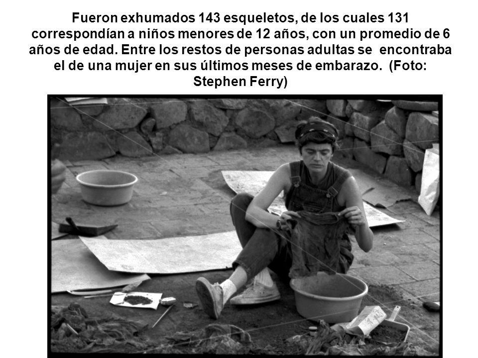 Fueron exhumados 143 esqueletos, de los cuales 131 correspondían a niños menores de 12 años, con un promedio de 6 años de edad. Entre los restos de pe
