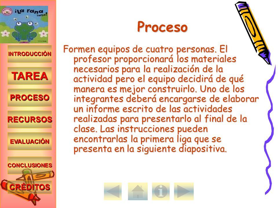 INTRODUCCIÓN TAREA PROCESO RECURSOS EVALUACIÓN CONCLUSIONES CRÉDITOS Proceso Formen equipos de cuatro personas. El profesor proporcionará los material