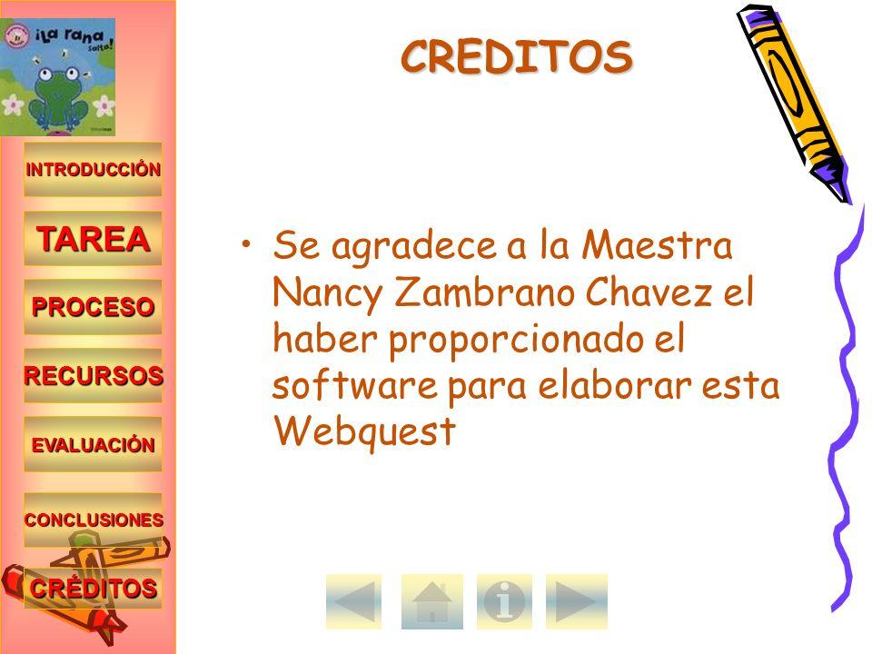 INTRODUCCIÓN TAREA PROCESO RECURSOS EVALUACIÓN CONCLUSIONES CRÉDITOS CREDITOS Se agradece a la Maestra Nancy Zambrano Chavez el haber proporcionado el