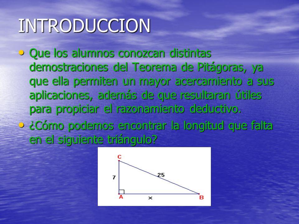 INTRODUCCION Que los alumnos conozcan distintas demostraciones del Teorema de Pitágoras, ya que ella permiten un mayor acercamiento a sus aplicaciones