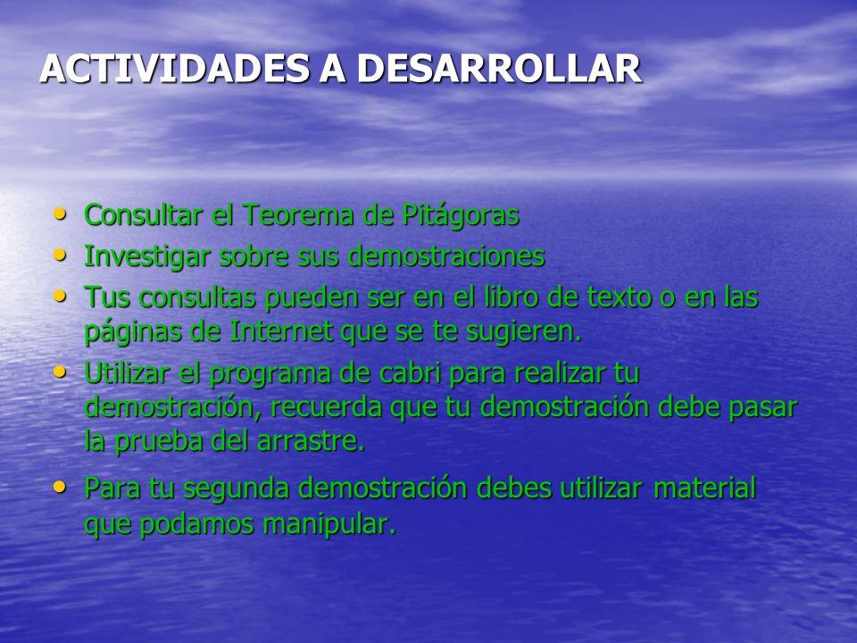 ACTIVIDADES A DESARROLLAR Consultar el Teorema de Pitágoras Consultar el Teorema de Pitágoras Investigar sobre sus demostraciones Investigar sobre sus