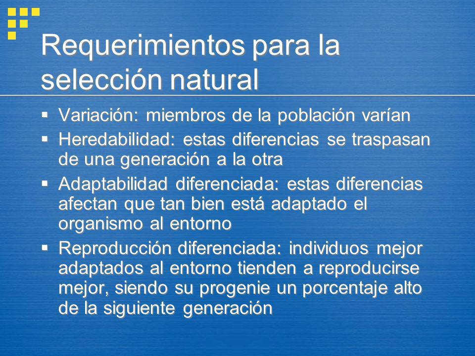 Requerimientos para la selección natural Variación: miembros de la población varían Heredabilidad: estas diferencias se traspasan de una generación a