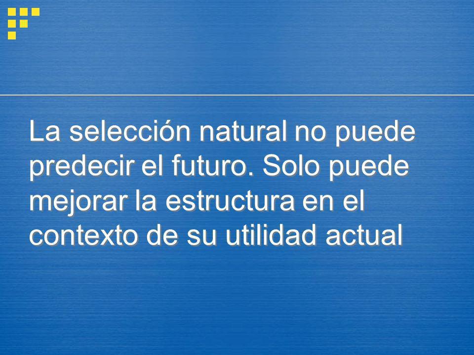 La selección natural no puede predecir el futuro. Solo puede mejorar la estructura en el contexto de su utilidad actual