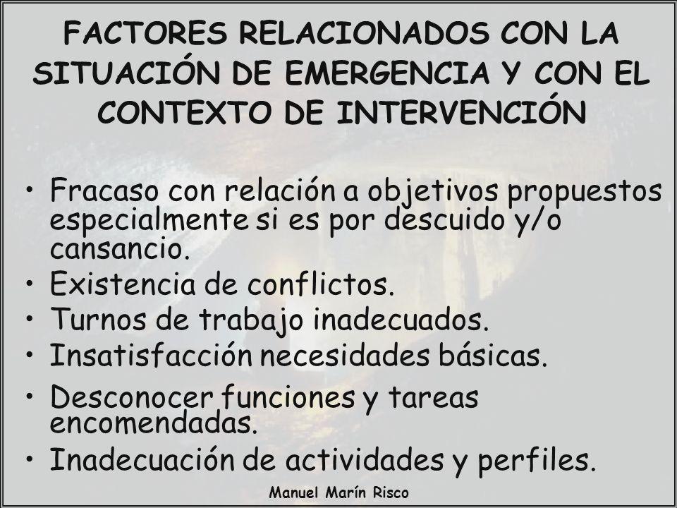 Manuel Marín Risco Fracaso con relación a objetivos propuestos especialmente si es por descuido y/o cansancio. Existencia de conflictos. Turnos de tra