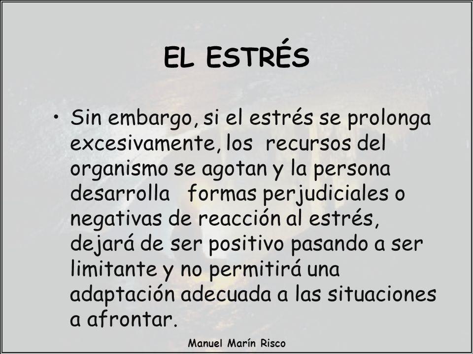 Manuel Marín Risco Las variables condicionantes del estrés son: –Personalidad y situación de la persona.