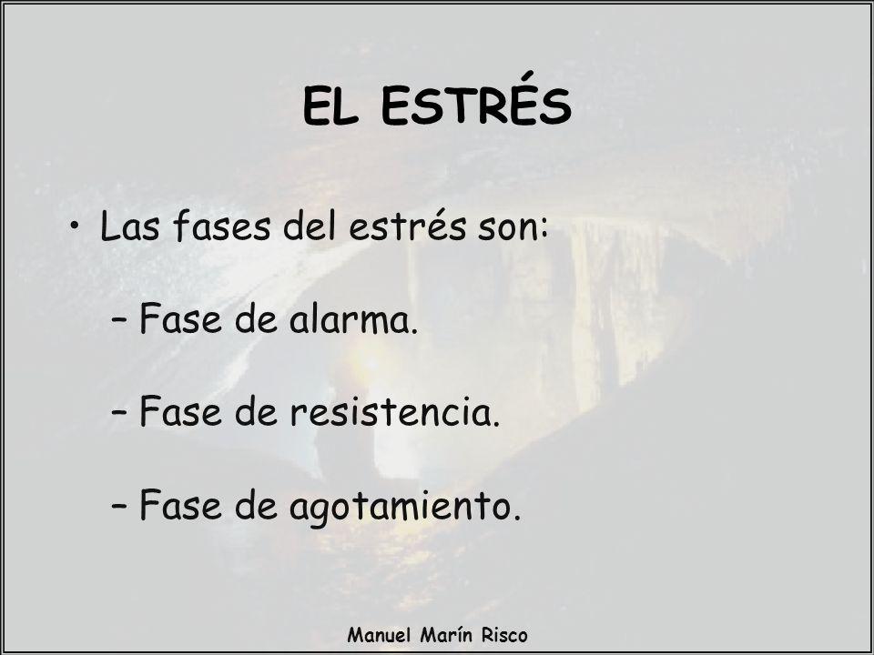 Manuel Marín Risco Las fases del estrés son: –Fase de alarma. –Fase de resistencia. –Fase de agotamiento. EL ESTRÉS