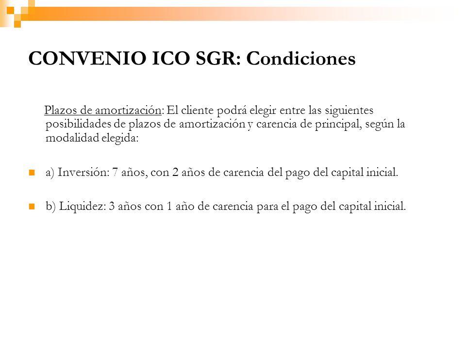 CONVENIO ICO SGR: Condiciones Plazos de amortización: El cliente podrá elegir entre las siguientes posibilidades de plazos de amortización y carencia de principal, según la modalidad elegida: a) Inversión: 7 años, con 2 años de carencia del pago del capital inicial.