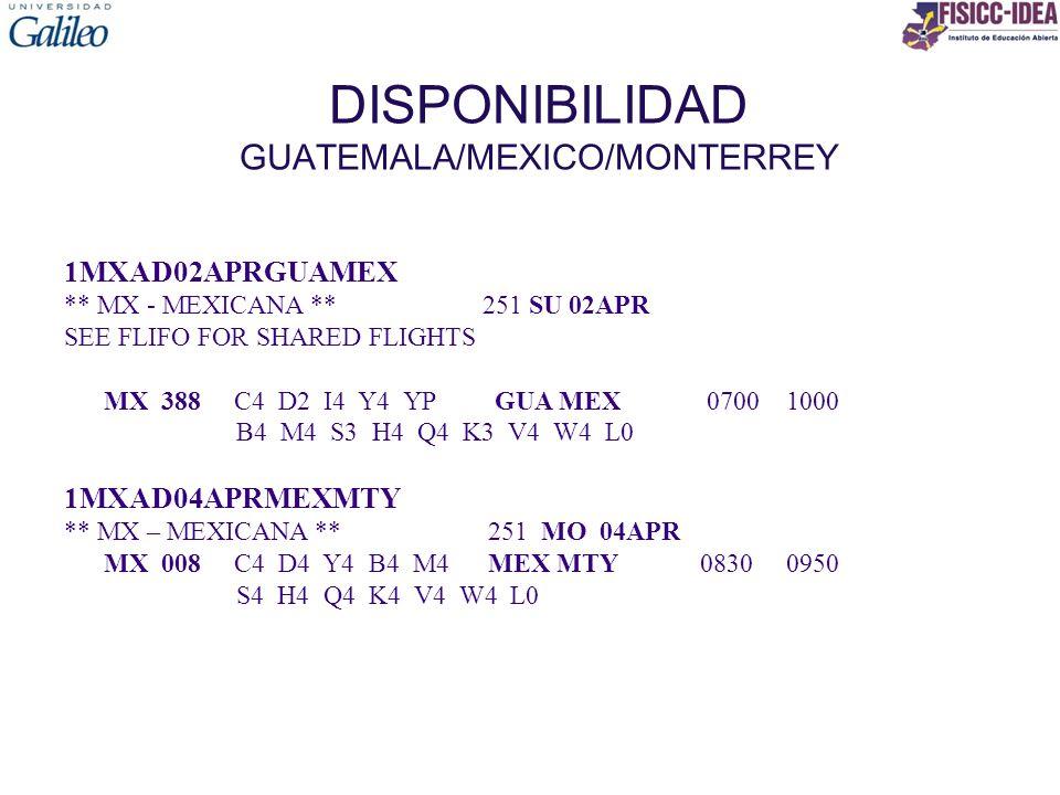 DISPONIBILIDAD GUATEMALA/MEXICO/MONTERREY 1MXAD02APRGUAMEX ** MX - MEXICANA ** 251 SU 02APR SEE FLIFO FOR SHARED FLIGHTS MX 388 C4 D2 I4 Y4 YP GUA MEX 0700 1000 B4 M4 S3 H4 Q4 K3 V4 W4 L0 1MXAD04APRMEXMTY ** MX – MEXICANA **251 MO 04APR MX 008 C4 D4 Y4 B4 M4 MEX MTY 0830 0950 S4 H4 Q4 K4 V4 W4 L0