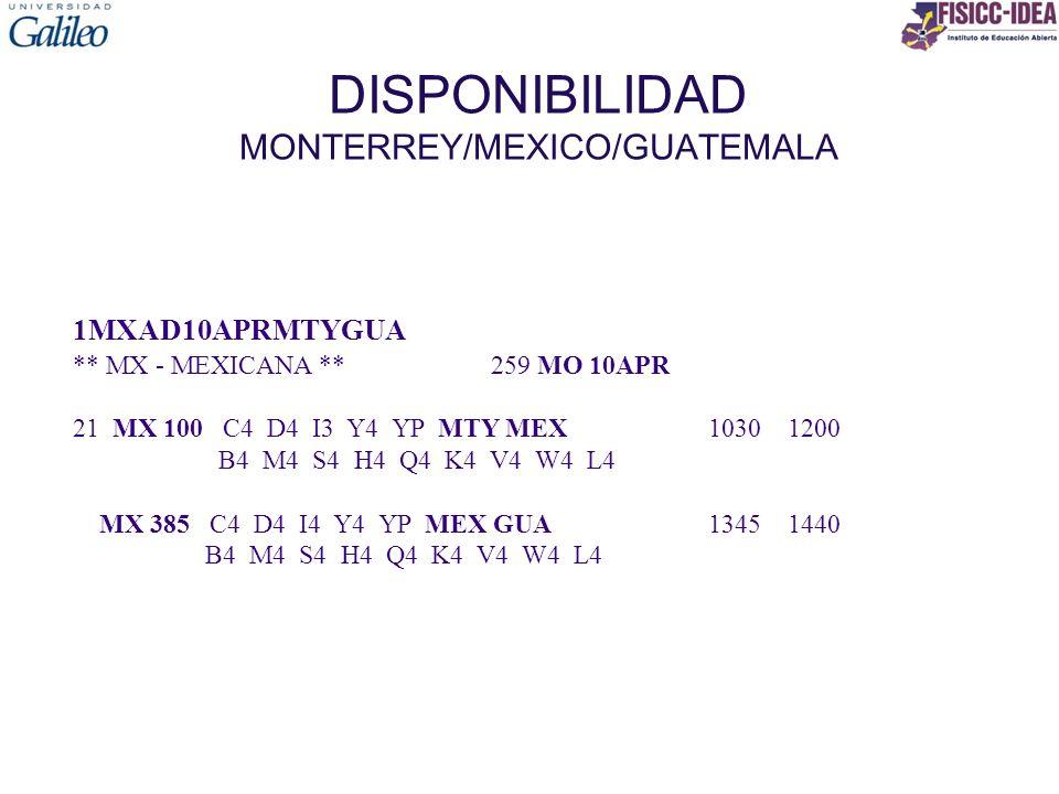 DISPONIBILIDAD MONTERREY/MEXICO/GUATEMALA 1MXAD10APRMTYGUA ** MX - MEXICANA ** 259 MO 10APR 21 MX 100 C4 D4 I3 Y4 YP MTY MEX 1030 1200 B4 M4 S4 H4 Q4 K4 V4 W4 L4 MX 385 C4 D4 I4 Y4 YP MEX GUA 1345 1440 B4 M4 S4 H4 Q4 K4 V4 W4 L4