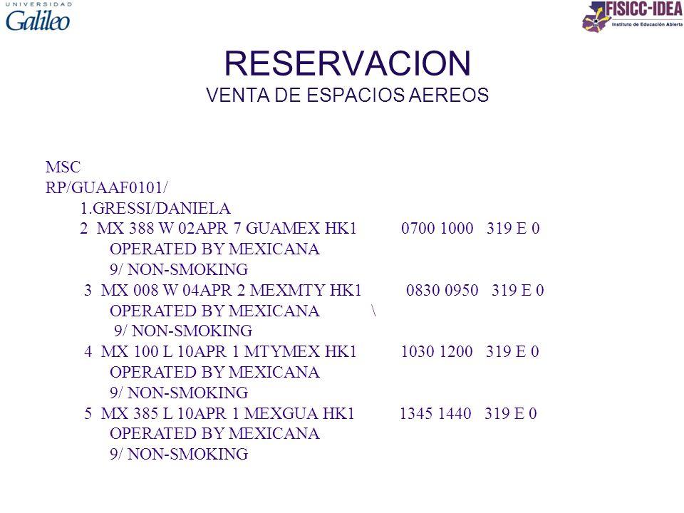 RESERVACION PASOS PARA CONFIRMAR UNA RESERVACION MSC RP/GUAAF0101/ 1.GRESSI/DANIELA 2 MX 388 W 02APR 7 GUAMEX HK1 0700 1000 319 E 0 OPERATED BY MEXICANA 9/ NON-SMOKING 3 MX 008 W 04APR 2 MEXMTY HK1 0830 0950 319 E 0 OPERATED BY MEXICANA \ 9/ NON-SMOKING 4 MX 100 L 10APR 1 MTYMEX HK1 1030 1200 319 E 0 OPERATED BY MEXICANA 9/ NON-SMOKING 5 MX 385 L 10APR 1 MEXGUA HK1 1345 1440 319 E 0 OPERATED BY MEXICANA 9/ NON-SMOKING >TKOK >APT CTC GUA 5204 4444 >RFPC >ER